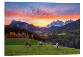 Acrylic print  View into the Villnöss Valley in South Tyrol at sunrise - Michael Valjak