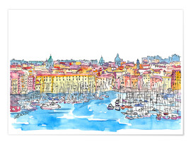 Premium poster Palermo Sicily Italy Waterfront Skyline