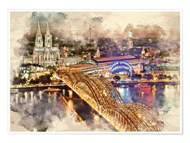 Premium poster  Cologne Skyline Cologne Cathedral - Peter Roder