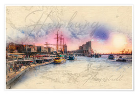 Premium poster  The landing bridges in Hamburg on the Elbe - Peter Roder