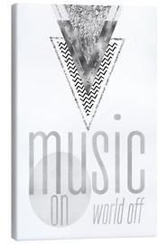 Canvas  GRAPHIC ART SILVER Music on World Off - Melanie Viola