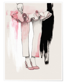 Poster Pink shoes fashion illustration