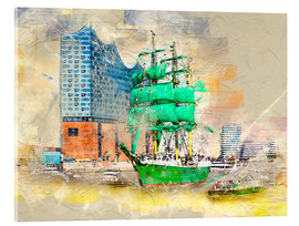 Acrylic glass  Hamburg Elbphilharmonie with the sailing ship Alexander von Humboldt - Peter Roder