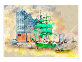 Premium poster  Hamburg Elbphilharmonie with the sailing ship Alexander von Humboldt - Peter Roder