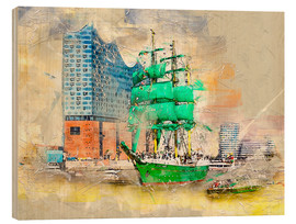 Wood print  Hamburg Elbphilharmonie with the sailing ship Alexander von Humboldt - Peter Roder