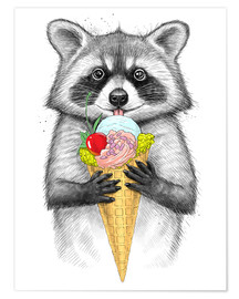 Poster Raccoon with ice cream