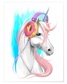 Premium poster  Unicorn with headphones - Nikita Korenkov