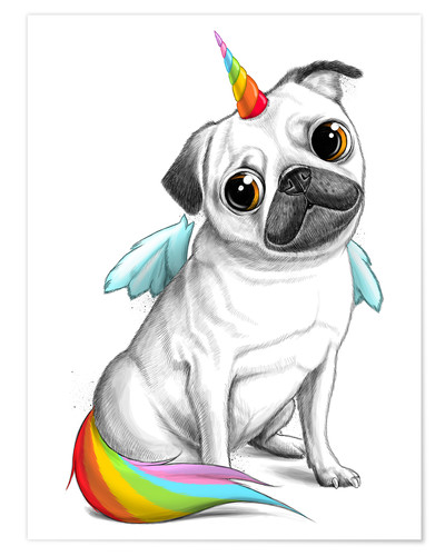 Pug Unicorn Posters And Prints Posterlounge Co Uk