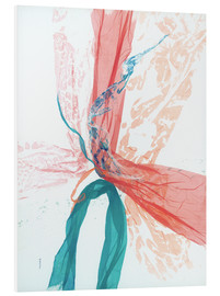 Foam board print  Peach and Teal abstract - Jan Sullivan Fowler