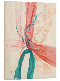 Wood  Peach and Teal abstract - Jan Sullivan Fowler