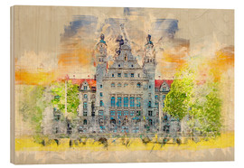 Wood print  Leipzig New Town Hall - Peter Roder
