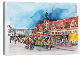 Canvas  Leipzig Weekly market in front of the Old Town Hall - Hartmut Buse