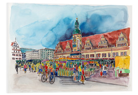 Foam board print  Leipzig Weekly market in front of the Old Town Hall - Hartmut Buse