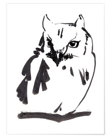 Premium poster  Owl ink drawing - Verbrugge Watercolor