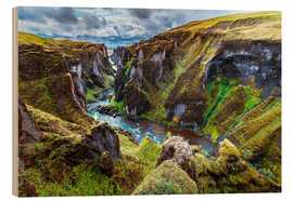 Wood print  Incredible volcanic Canyon on Iceland - Sascha Kilmer