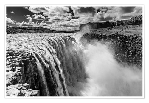 Premium poster Dettifoss on Iceland (monochrome)