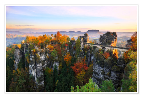 Premium poster Bastei Bridge in Saxon Switzerland