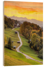 Wood print  Wamberg in the Bavarian Alps near Garmisch-Partenkirchen - Michael Valjak