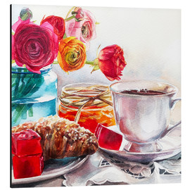 Aluminium print  Coffee and croissant breakfast - Maria Mishkareva