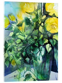 Johann Pickl - Yellow roses with ivy in vase