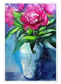 Premium poster Red peonies in vase