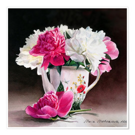 Premium poster Porcelain and peonies watercolor illustration