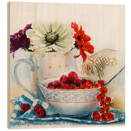 Wood print  Flowers and berries watercolor painting - Maria Mishkareva