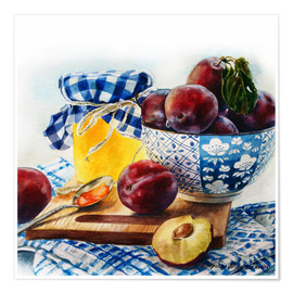 Premium poster Plum jam watercolor painting