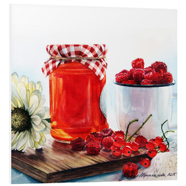 Foam board print  Raspberry jam watercolor painting - Maria Mishkareva