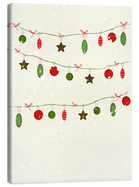 Canvas  happy holidays baubles - Sybille Sterk