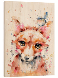 Wood print  Little Fox - Sillier Than Sally