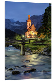Michael Valjak - Church in Ramsau near Berchtesgaden in the evening