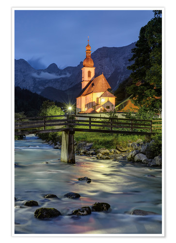 Premium poster Church in Ramsau near Berchtesgaden in the evening
