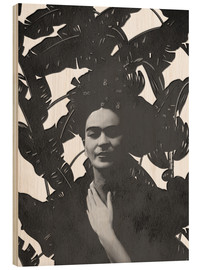Wood print  Frida black and white - Mandy Reinmuth