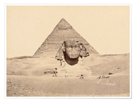 Premium poster Chephren pyramid and sphinx