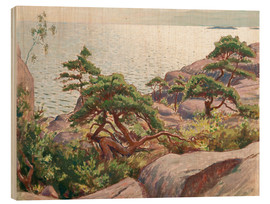 Wood print  Landscape with pine trees - Väinö Blomstedt