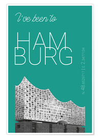 Poster Popart Hamburg Elbphilharmonie I have been to Color: Arcadia