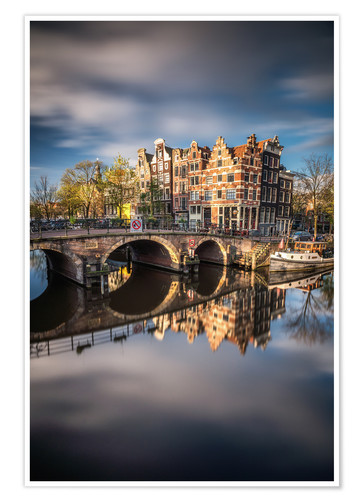 Premium poster Amsterdam during morning light