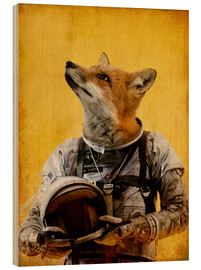 Wood print  Space fox - Durro Art