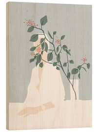 Wood print  Berry bush and vase - Wadim Petunin