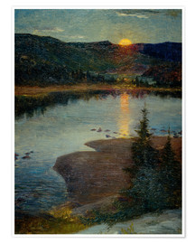 Premium poster Moonrise in Valdres