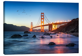 Canvas  Golden Gate Bridge at sunset in San Francisco, USA - Jan Christopher Becke