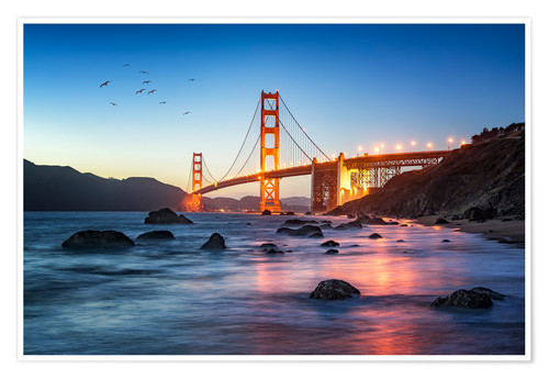 Premium poster Golden Gate Bridge at sunset in San Francisco, USA