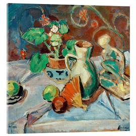 Oskar Moll - Still life with a white pitcher, plastic, fans and oranges