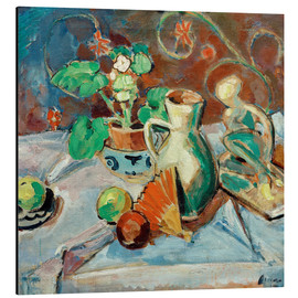 Alu-Dibond  Still life with a white pitcher, plastic, fans and oranges - Oskar Moll