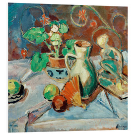 Foam board print  Still life with a white pitcher, plastic, fans and oranges - Oskar Moll
