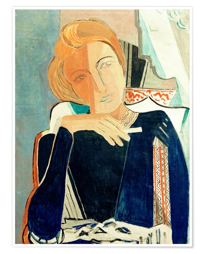 Premium poster Inge II, in dark blue with cigarette