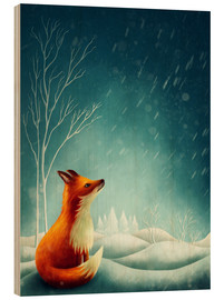 Wood print  Fox in winter - Elena Schweitzer
