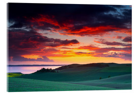 Acrylic glass  Rolling green hills and lake at sunset - Mark Scheper