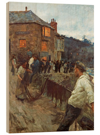Wood print  The wharf in Newlyn - Stanhope Alexander Forbes
